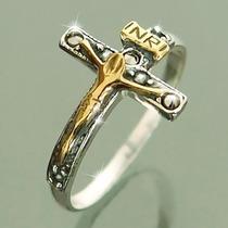 Anel Crucifixo Prata 925 C/ Folheado Ouro 18k Jesus Cruz