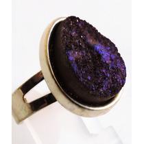 Anel Banhado A Ouro Com Drusa Gota Violeta Escura
