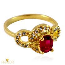 Anel De Ouro Com Rubí De 6x4 Oval E 24 Diamantes An074