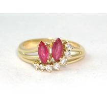 Pocao2005-anel 18k 750 Diamantes Rubis