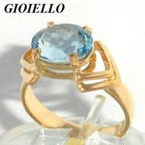Anel Topázio Azul Natural Oval Prata Banho Ouro 18k P235/tpz