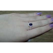 Anel Prata Maciça 925 Nº 24 Pedra Azul