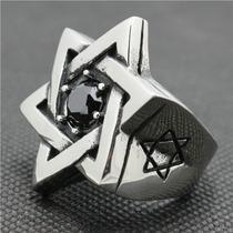 Anel Aço Inox Punk Estrela Davi Israel Honda Bíblia Judaismo