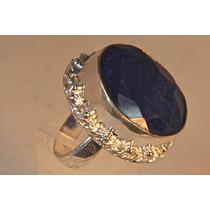 Rsp J842 Anel Prata 925 Safira Azul Natural Lapidada