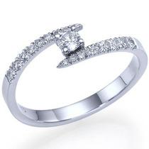 Solitário Com Diamantes Em Ouro Branco 18k!!!linda Jóia!