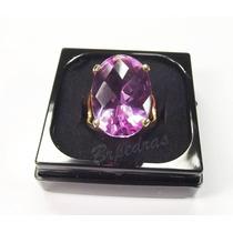 Anel C/ Pedra Grande Cristal Color Safira Rosa B/ Ouro