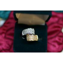 Anel Pavê Em Ouro Amarelo E Branco 18 Quilates E Diamantes!!