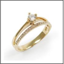 Solitário Com Diamantes Em Ouro Amarelo 18k!!!linda Jóia!