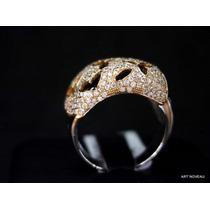 Lindo Anel Diamantes Negros E Brancos Em 2 Tons 18k Maciço