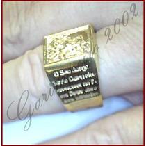 Anel São Jorge Em Prata 950 Com Oração Banhado A Ouro 18k