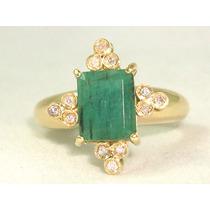 Pocao2005-anel Ouro18k750 Esmeraldas Diamantes! Frete Grátis