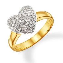 Anel Coração Em Ouro Amarelo E Branco 18k Mais Brilhantes.