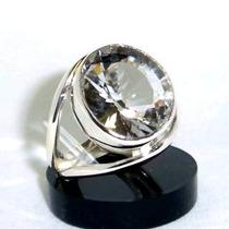 Anel Cristal Quartzo Natural Oval Prata 925 P1022 Crist