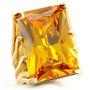 Anel Solitário Folheado A Ouro 18k Pedra Topázio - Luxo