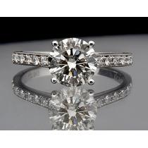 Lindo Solitário Em Ouro Branco 18k/750 E Diamantes.