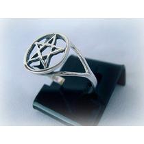 Anel Pentagrama Poderoso E Místico Amuleto Prata De Lei 950