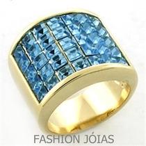 Anel Azul Folheado A Ouro 18k Gotas Zirconias Água Marinha