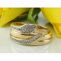 Anel Em Ouro Amarelo 18 Quilates + Diamantes