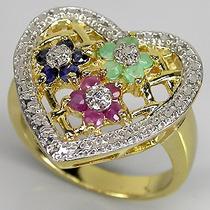 Anel Em Prata 925 Banhado A Ouro Safira,esmeraldas E Rubi