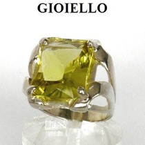 Anel Quartzo Green Gold Natural Retangular Prata 925 P1130