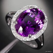 Anel Ametista E Diamantes Em Ouro 18k Exclusivo