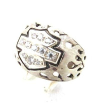 Anel Simbolo Harley C/ Pedras Brancas (prata De Lei 950)