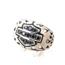 Anel Simbolo Harley C/ Pedras Negras (prata De Lei 950)