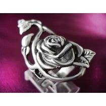Anel Com Rosa Em Prata De Lei 950