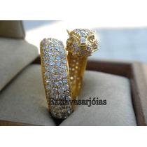 Anel Pantera Em Ouro Amarelo 18 Quilates E Diamantes!!