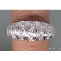 Anel De Diamantes Em Ouro 18k Branco Lindo Exclusivo
