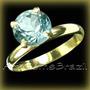 Anel Ouro 18kl Solitário Obsidiana Azul Pscina Frete Grátis