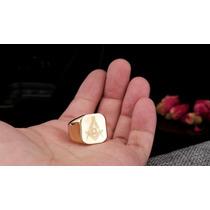 Anel Folheado Ouro 18k Maçom Maçônico Maçonaria