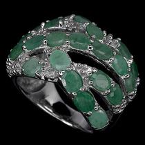 Anel Em Prata 925 Com Esmeraldas Naturais Luxo! Carol Joias