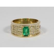 Anel De Formatura Luxo Diamantes E Esmeralda Natural. Ouro.