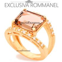 Rommanel Anel Cristal Quadrado Fume Com 20 Zirconias 511426