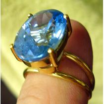 Anel Lindissimo !! Em Ouro 18k Com Topázio Azul Sky Blue !!