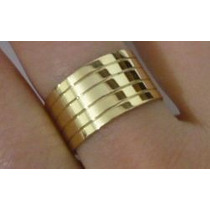 Anel 5 Elos Frizados -ouro 18k/750 - 5 Grs- 10 Mm