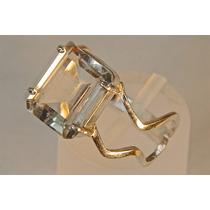 Rsp J1357 Anel Prata 950 Com Cristal Quartzo Frete Grátis