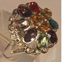 Rsp J3587 Anel Prata 925 Com Pedras Coloridas Sedex Grátis