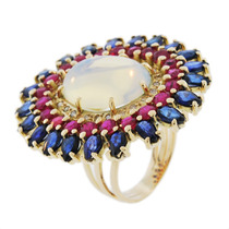 Anel Ouro 18k Com Opalina, Rubis, Safiras E Diamantes - Cwb