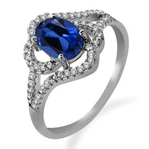 925 Anel De Prata Esterlina Com Safira Azul Fabricado 2,31 K