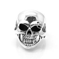 Novo! Anel Crânio Skull Pircing Prata De Lei - 14053