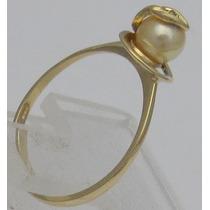 Anel Ouro Amarelo 18k 0750 Perola, Brilhante Natural Confira