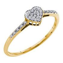 Anel Coração Com Diamantes Em Ouro Amarelo 18k!!!linda Jóia!