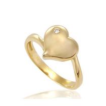 Anel Coração Em Ouro Amarelo18k750 + Brilhante E Frete Livre