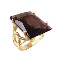 Anel Pedra Grande Cristal Folheado A Ouro 18k Semijoia Bruna