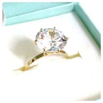 Anel Solitário Cálice Pedra 10mm Joia Ouro 18k Certificado