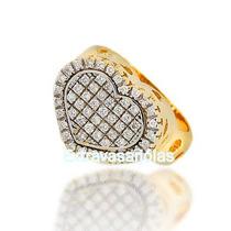 Anel Coração Diamantes Ouro Amarelo E Branco 18k/750