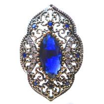Promoção-czp-anel Turqu Turco Prata 925 Cristal Safira Topa