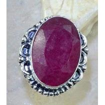Anel Feminino Prata 925 Pedra Rubi Natural Grande Aro 16